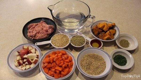 Recette d`aliments secs pour chiens à la dinde hachée et aux lentilles