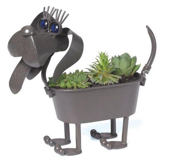 Mini jardinière en métal Wiener Dog