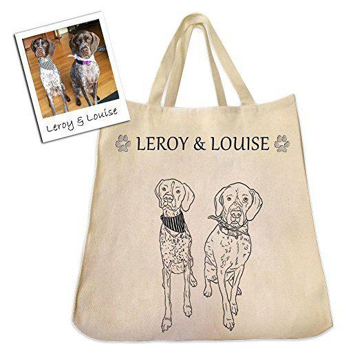 Contour personnalisé chien, chat ou animal de compagnie Dessin sur un sac fourre-tout en sergé de coton réutilisable écologique extra-large