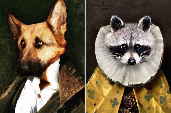 L`artiste ajoute des animaux à des peintures historiques dans un style hyper réaliste