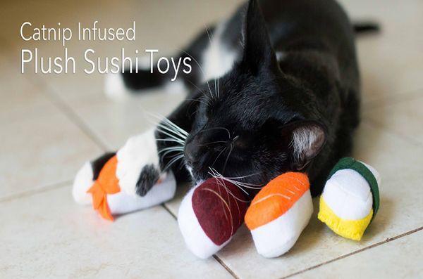 Aidez à relancer les jouets pour chats à sushis infusés de foodiekat