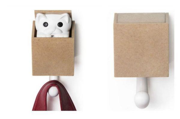Meowy Catmas Cadeaux pour les chats et les fans de félins: Crochet mural Kitt-a-Boo Peeping Cat