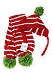 Chapeau et écharpe Pom Pom à rayures rouges et blanches par Midlee