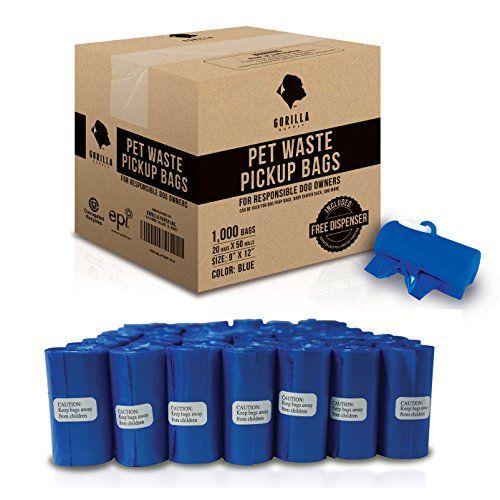 Sacs pour caca pour animaux de compagnie Gorilla Supply Blue, technologie EPI avec distributeur breveté
